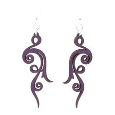 "Laser Cut ""Scroll"" Earrings Made From Sustainably Harvested Wood (Purple Scroll)"