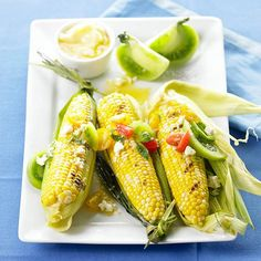 In our Grilled Corn and Green Tomato Salsa, a favorite side dish is dressed up with a salsa featuring fresh tomatoes, basil, and tangy feta cheese. More ways to grill veggies: http://www.bhg.com/recipes/vegetarian/grilled-vegetables/grilled-vegetarian-side-dishes/ #myplate #veggies