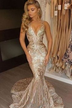 3f4e84aa754 Mermaid V-Neck Court Train Sleeveless Gold Lace Prom Dress with Sequins