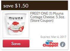 FREE Muuna Cottage Cheese at Price Chopper on http://www.icravefreebies.com/