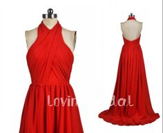2014 Long Red Halter Sexy Open Back Aline Chiffon by lovingbridal, $108.00. Comes in a million colors.
