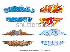Water, Fire, Earth And Air: Set Of The Four Elements Of Nature In ...