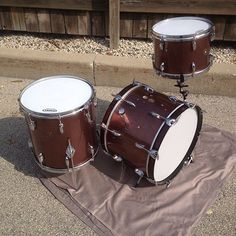 Gretsch Round Badge in Original Burgandy Sparkle Wrap!!Highly sought after wrap and size combination!  Name Band Model kit.20x14Wrap seams were lifiting so they have been reglued and butted to help with heads fitting.Edges redone. Has been drilled for a aftermarket tom holder (Included but not installed)Diamond plate cymbal mount will be included (updated photo coming)Extra hole from ludwig cymbal mount filled and covered with wrap, shall be covered by diamond cymbal mount as well.Bass drum…