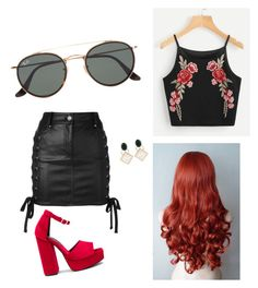 """Cheryl blossom outfit!"" by mythicalspirit ❤ liked on Polyvore featuring Versus, Jeffrey Campbell, Marni, Ray-Ban, riverdale, cherylblossom and riverdalecw"