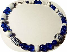 Blue White Asian Inspired Beaded Necklace-Cobalt Blue Statement Necklace-Handmade Crystal Gemstone Jewelry-Womens Jewelry-Vintage Beads by Willows3Creations on Etsy