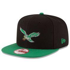4dfc9cd1340d25 Men s Philadelphia Eagles New Era Black Kelly Green Historic Logo Baycik  9FIFTY Snapback Adjustable Hat