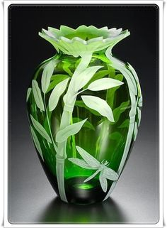 Yeşil Dragonfly Cam Sanatı