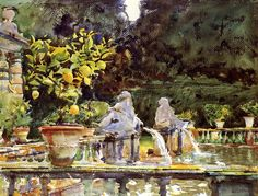 Villa di Marlia, Lucca: A Fountain, watercolor by John Singer Sargent, at the Museum of Fine Arts, Boston Watercolor Landscape, Watercolor Paintings, Watercolours, Watercolor Sketchbook, Abstract Landscape, Oil Paintings, John Singer Sargent Watercolors, Sargent Art, Beaux Arts Paris