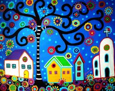 Mexican Town Painting by Pristine Cartera Turkus