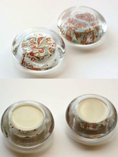 DIY Paperweights from Glass Candle Holders – Mod Podge Rocks DIY paperweights from Dollar Store glass candle holders. Easy Diy Crafts, Diy Craft Projects, Creative Crafts, Decor Crafts, Fun Crafts, Crafts For Kids, Paper Crafts, Craft Ideas, Wood Crafts