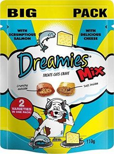Dreamies Cat Treats Mix with Scrumptious Salmon and Delicious Cheese (110g) ** To view further for this item, visit the image link. (This is an affiliate link and I receive a commission for the sales)
