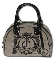 JUICY COUTURE Grey Bowling Bag Velour Handbag