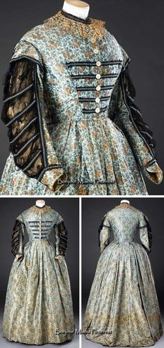 """Dress ca. early 1860s. Warp-printed silk, trimmed with lace, net and braid. """"With its small-scale patterned fabric, high-necked, front-fastening bodice, straight waistline and long sleeves, it is similar in character to Charlotte Brontë's so-called 'Thackeray dress' in the Brontë Parsonage Museum at Haworth."""" John Bright Collection"""