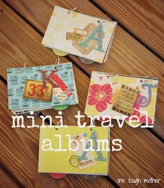 Mini travel scrapbooks - keepsakes, scrapbooking, handmade gifts. These would be great bridesmaid gifts, too!