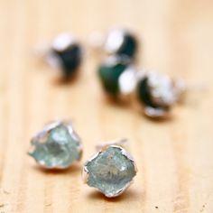 Custom made rough aquamarine petal earrings and by GardensOfTheSun