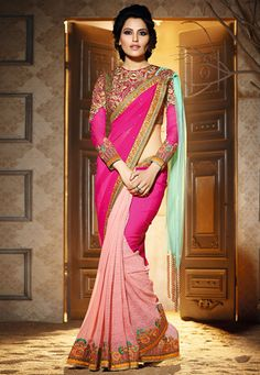 Fuchsia, Light Aqua and Peach Faux Georgette and Net Saree with Blouse