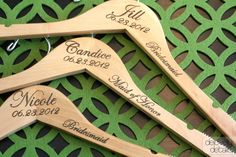 Personalized Wedding Hangers with Arm Inscription - a fun bridesmaid gift! via delovelydetails