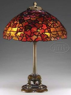 Duffner & Kimberly, New York, table lamp, fully leaded glass domical shade in an ivy pattern. Stained Glass Table Lamps, Traditional Lamps, Lights Fantastic, I Love Lamp, Tiffany Lamps, Glass Candle Holders, Leaded Glass, Lamp Bases, Empire