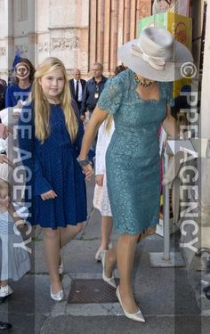 King Willem-Alexander, Queen Máxima and princesses Amalia, Alexia & Ariane in Parma, Italy for christening of Prince Carlos de Bourbon de Parme. 25 september 2016.