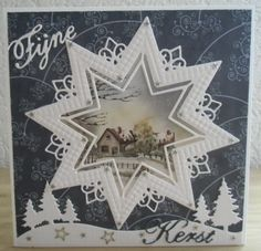 Billedresultat for creatable kerstkaarten Dyi Christmas Cards, Christmas Scenes, Christmas Printables, Holiday Cards, Christmas Crafts, Star Cards, 3d Cards, Embossed Cards, Marianne Design