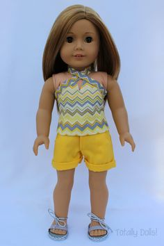 """""""SunDaze"""" Halter Top & Cuffed Shorts with Shoes - $17.99 American Girl Doll Clothing http://www.totallydolls.com/apps/webstore/products/show/5769966"""
