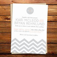 Chevron Zig Zag Wedding Invitation by kxodesign on Etsy, $3.95