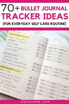 Here you can find over 70 bullet journal habit tracker ideas to create an amazing everyday self care routine #anjahome #bulletjournal