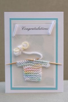 baby boy card baby congratulations card with with by aniamelisa, Cute idea and one more reason I need to learn to knit!