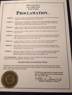HIGH POINT, NC - Mayoral proclamation recognizing Diaper Need Awareness Week (Sep. 26 - Oct. 2, 2016) #diaperneed diaperneed.org