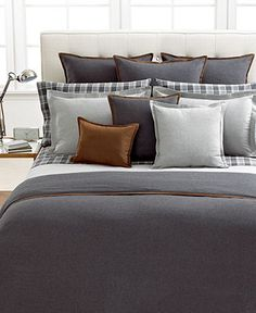 ralph lauren holden collection, dark gray wool duvet with cognac leather trim, gray/black/white plaid sheets.