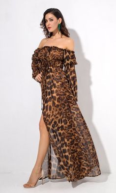 Cat Call Brown Leopard Long Flare Sleeve Off The Shoulder Cinch Waist Maxi Casual Dress Animal Print Maxi Dresses, Off The Shoulder, Cold Shoulder Dress, Chill Outfits, Brown Leopard, African Dress, African Fashion, Dress Skirt, Indie