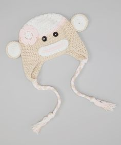 Tan Monkey Earflap Beanie
