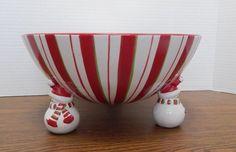 JCP JC Penney China Snowman Snowmen Multi Peppermint Pedestal Bowl #06114A