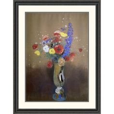 """Global Gallery 'Vase of Flowers from a Field' by Odilon Redon Framed Painting Print Size: 46"""" H x 35.42"""" W x 1.5"""" D"""