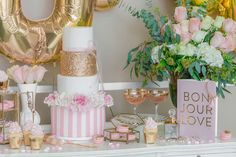 Oui Oui to this pretty cake & decor for a tres romantique bridal shower.