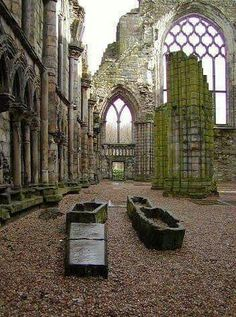 """Holyrood (""""Holy Cross"""") Abbey in Scotland. Reportedly, Robert the Bruce held parliament here. Multiple invading armies damaged the Abbey, which was finally plundered during the Scottish Reformation in Holyrood Abbey - Edinburgh, Scotland. Oh The Places You'll Go, Places To Travel, Places To Visit, Spring Break Trips, Scotland Travel, Scotland Trip, Castle Scotland, Scotland Uk, Edinburgh Castle"""