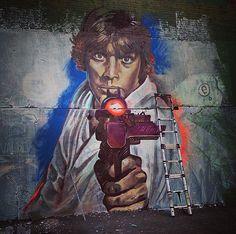 New Street Art of Luke Skywalker @starwars by Thiago Valdi   #art #arte #graffiti #streetart