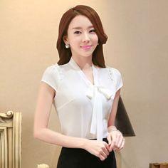 6466750344e8d women short sleeve clothes OL shirt Formal slim blouses office ladies tops  1598