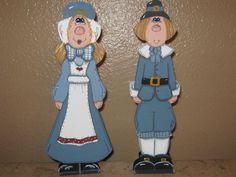 Pilgrim Girl and Pilgrim Boy Centerpiece set by Gourdsandgifts, $14.99