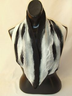 Nuno Felted Scarf Infinity Loop BLACK on WHITE. $42.00, via Etsy.  48 inches in a loop