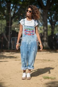 20 Of The Endlessly Inspiring Looks From Afropunk -- Love the hair and overalls. Too cute! #refinery29