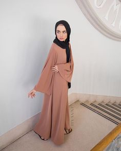 INAYAH | Iced Coffee High Neck #Kimono #Abaya + Black Maxi Georgette #Hijab - www.inayah.co