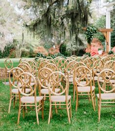 INFINITY Natural Wood Chair Rentals by At Last Florals | Tallahassee FL rentals Thomasville GA rental company | Outdoor Wedding Ceremony at Ball House in Southwood | Wedding designet Planner AT LAST FLORALS | Tallahassee Photographer Carolyn Allen Photography