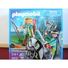 Playmobil Knights & Cannon (5831) by Playmobil. $11.25. figures are about 3 inches tall. 2 knights and a cannon. 22 pieces. includes: shield, axe, 2 cannonballs, 2 arrow quivers, bow, cannon and male and female figure. toy knights playset