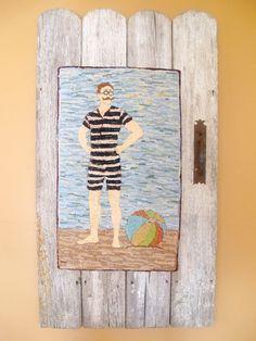The Vintage Bathing Beau Hooked Rug Folk Art by JwrobelStudio
