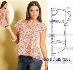 blusa casual com molde