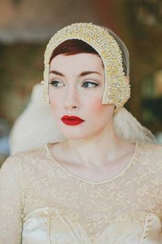 Matte red lips and blushed cheeks for your bridal look