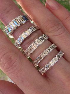 Emerald and Asscher Cut Wedding Bands | Joshua J | Calvin's Fine Jewelry #finejewelry #BeautifulFineJewelry
