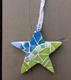 Beachy lime star mosaic ornament - Glass Needle Works