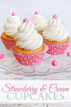 Strawberry and Cream Cupcakes #cupcakes #cupcakeideas #cupcakerecipes #food #yummy #sweet #delicious #cupcake